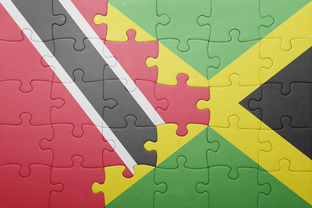 national flag trinidad and tobago: puzzle with the national flag of jamaica and trinidad and tobago .concept