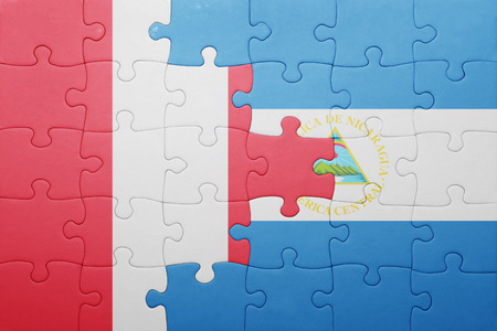 lima region: puzzle with the national flag of nicaragua and peru .concept