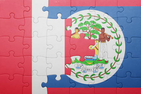 lima region: puzzle with the national flag of belize and peru .concept Stock Photo