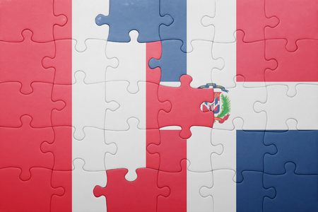 republic of peru: puzzle with the national flag of dominican republic and peru .concept Stock Photo