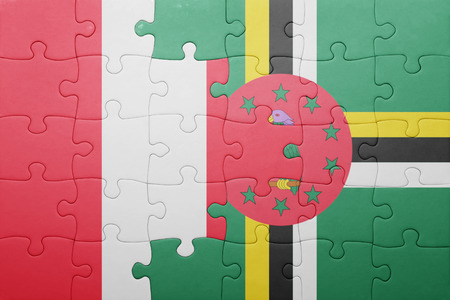 lima region: puzzle with the national flag of dominica and peru .concept