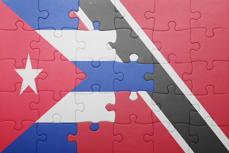 national flag trinidad and tobago: puzzle with the national flag of trinidad and tobago and cuba .concept Stock Photo