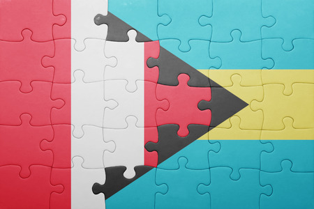 lima region: puzzle with the national flag of bahamas and peru .concept