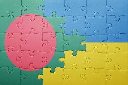 national flag bangladesh: puzzle with the national flag of ukraine and bangladesh . concept