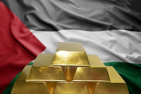 palestinian: shining golden bullions on the palestinian flag background