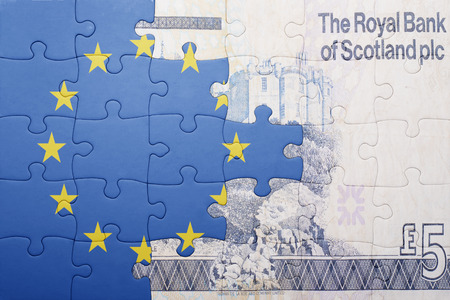 gb pound: puzzle with the national flag of european union and scottish banknote . concept
