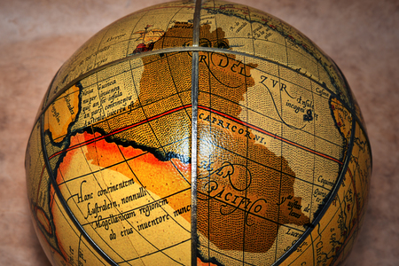 iraq: iraq map on the vintage old globe