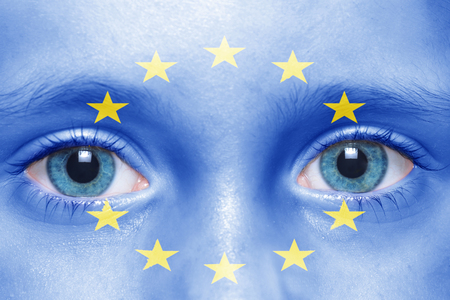european: childs face with european union flag
