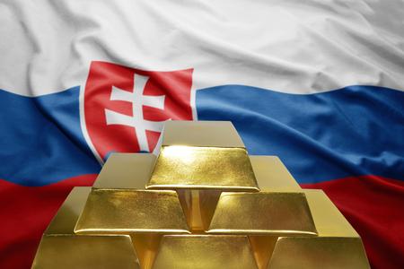 slovak: shining golden bullions on the slovak flag background
