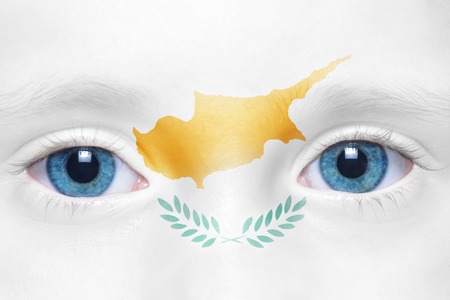 cypriot: childs face with cypriot flag