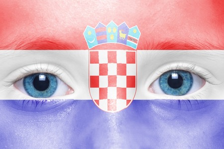 croatian: childs face with croatian flag
