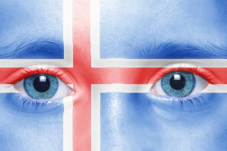 icelandic flag: childs face with icelandic flag