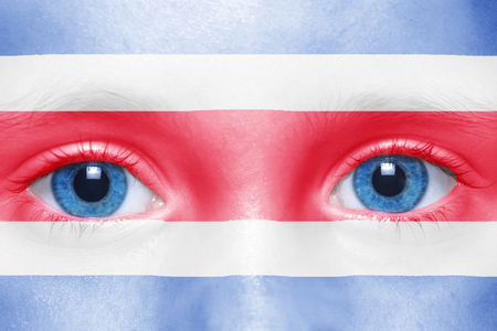 bandera de costa rica: La cara de humano con la bandera de costa rica Foto de archivo