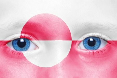 greenlandic: humans face with greenlandic flag