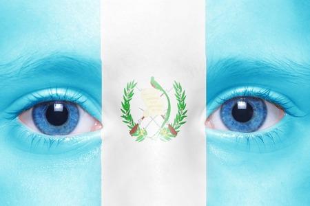 guatemalan: humans face with guatemalan flag