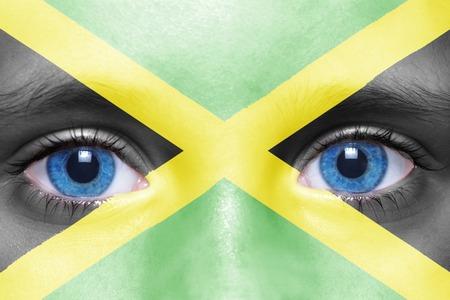 jamaican flag: humans face with jamaican flag