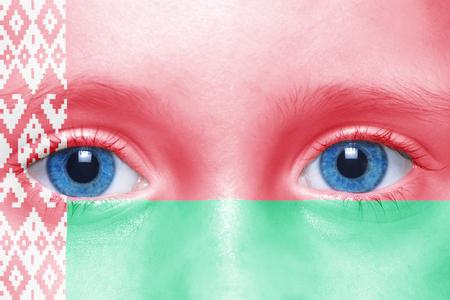 belarus: humans face with belarus flag