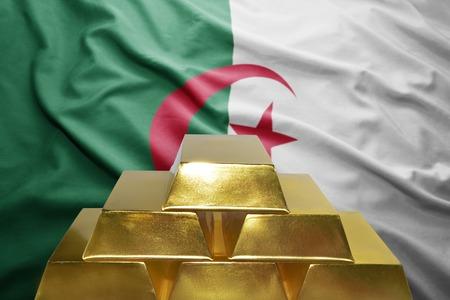algerian flag: shining golden bullions on the algerian flag background