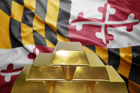 maryland flag: shining golden bullions on the maryland flag background