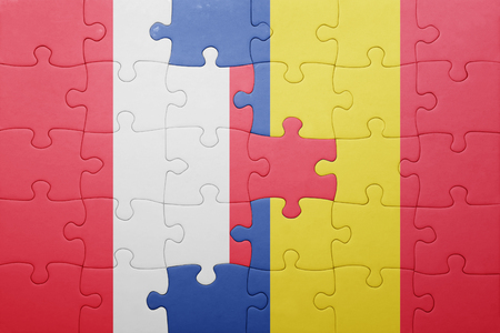 lima region: puzzle with the national flag of peru and romania . concept Stock Photo