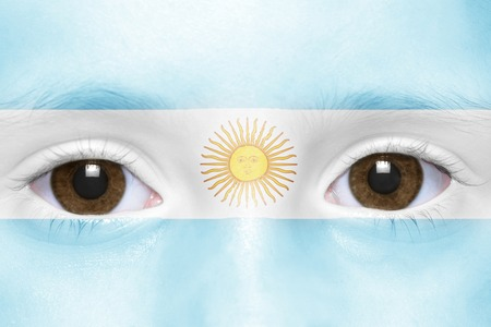 argentinean: humans face with argentinean flag Stock Photo