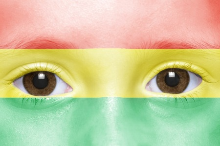 bolivian: humans face with bolivian flag