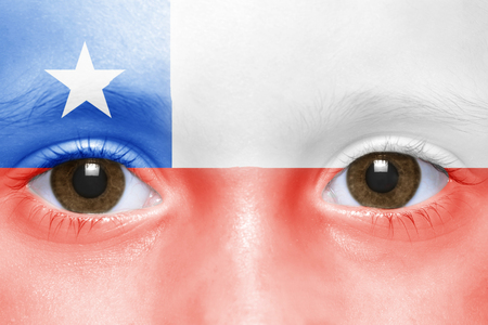 chilean flag: humans face with chilean flag Stock Photo