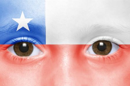 chilean flag: La cara de humano con bandera chilena Foto de archivo
