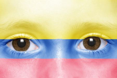 colombian flag: humans face with colombian flag