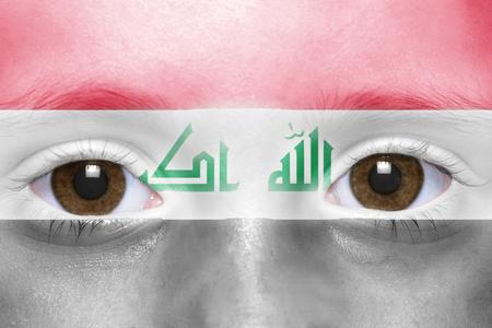 iraqi: humans face with iraqi flag