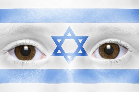 israeli: humans face with israeli flag