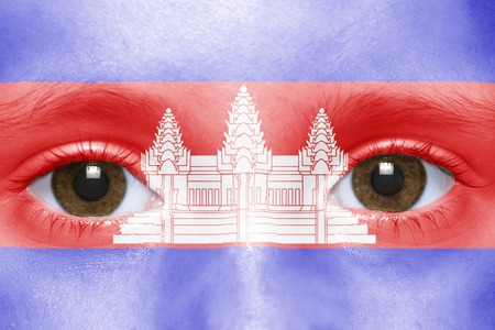 cambodian: humans face with  cambodian flag