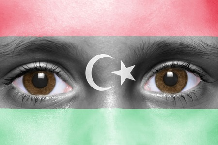 libyan: humans face with libyan flag