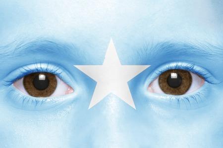 somali: humans face with somali flag