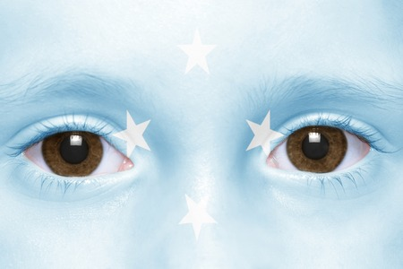 federated: humans face with federated states of micronesia flag