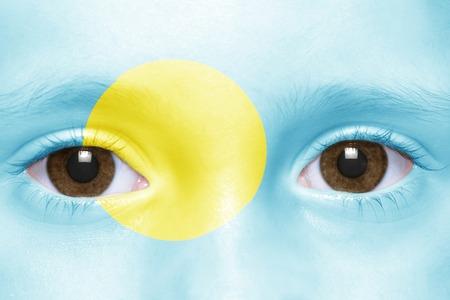 palau: humans face with palau flag