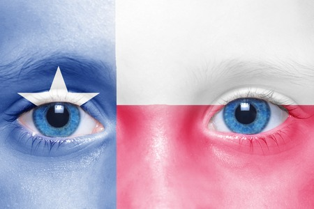 texas state flag: humans face with texas state flag