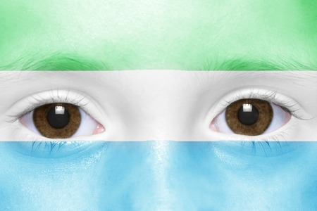 sierra leone: humans face with sierra leone flag