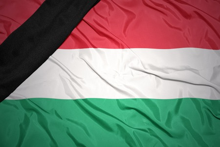 dole: waving national flag of hungary with black mourning ribbon
