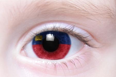 liechtenstein: humans eye with national flag of liechtenstein