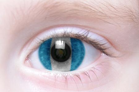 human's eye with national flag of guatemala