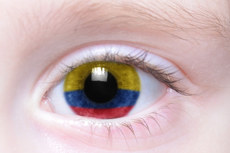 humans eye with national flag of colombia