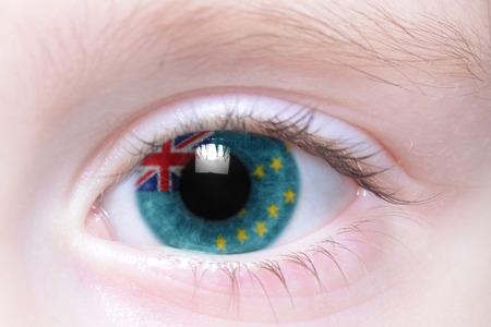 tuvalu: humans eye with national flag of tuvalu Stock Photo