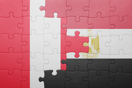 lima region: puzzle with the national flag of peru and egypt. concept
