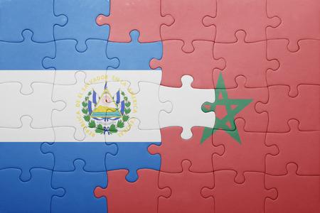 el salvadoran: puzzle with the national flag of morocco and el salvador . concept Stock Photo