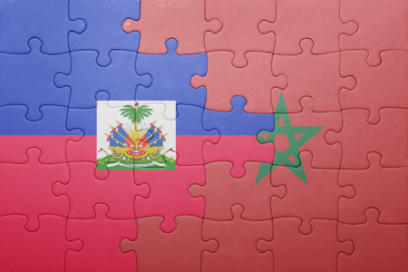 port au prince: puzzle with the national flag of morocco and haiti . concept