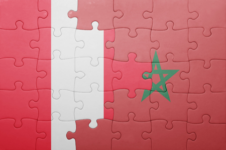 lima region: puzzle with the national flag of morocco and peru . concept
