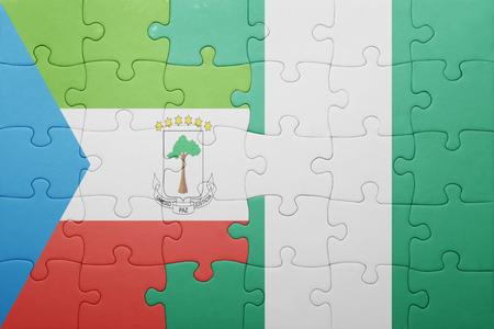 equatorial guinea: puzzle with the national flag of equatorial guinea and nigeria . concept Stock Photo