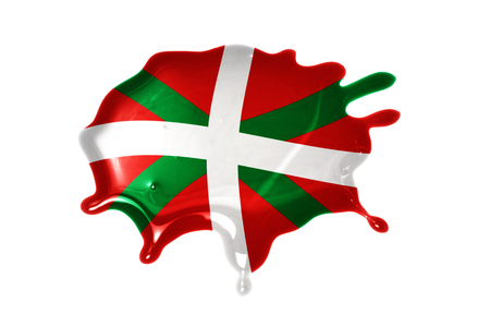 the basque country: blot with national flag of basque country on the white background