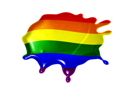 blot with gay flag on the white background Stock Photo